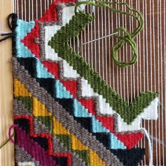 Come see the finished piece at the Seattle Holiday RAWk show! FYI - Today is the last day to purchase… Inkle Weaving, Tablet Weaving, Weaving Art, Tapestry Weaving, Hand Weaving, Weaving Designs, Weaving Projects, Weaving Patterns, Weaving Wall Hanging