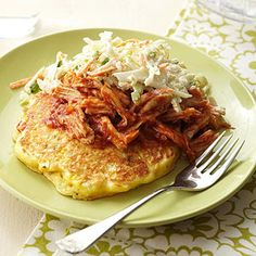 Corn Pancakes with BBQ Pulled Turkey and Coleslaw (Southern Bbq Recipes) Homemade Barbecue Sauce, Barbecue Recipes, Pork Recipes, Turkey Sauce, Corn Pancakes, Waffles, Diabetic Living Magazine, Coleslaw Mix, Waffle