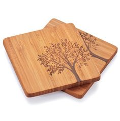 Bambu Coasters with Tree Motif, Set of 4 - Works as designed and well built.Product features of Bambu Coasters with Tree Motif, Set of of four bamboo coast Woodworking Projects That Sell, Custom Woodworking, Woodworking Plans, Woodworking Furniture, Wood Placemats, Best White Elephant Gifts, Wooden Coasters, Coffee Coasters, Posca