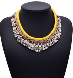 9.18€ - Statement za Brand Crystal Gem Collar - Best Lady Jewelry Store