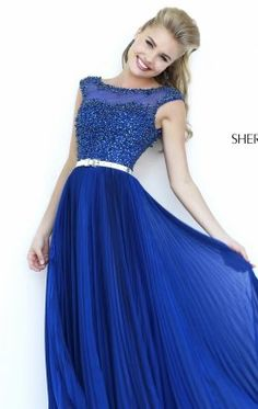 Bateau Neck Pleated Gown by Sherri Hill 32131