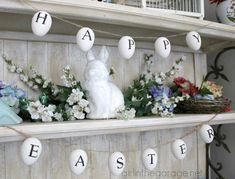 Easter Egg Garland inspired by Ballard Designs {Easter Craft and Decor Showcase} - girlinthegarage.net