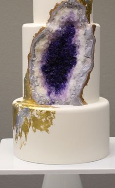 This Insane Amethyst-Inspired Wedding Cake Is Completely Amazing