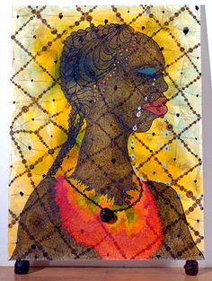 "Chris Ofili - ""No Woman No Cry"" 1988 elephant dung painting by chris Ofili no women no cry, i like it"
