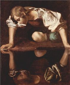 The History of Narcissistic Personality Disorder: The mythological Narcissus depicted by the artist Michelangelo Caravaggio. Baroque Painting, Baroque Art, Italian Baroque, Mirror Painting, Painting Art, Michelangelo Caravaggio, Michelangelo Artist, Oil Canvas, Renaissance Kunst