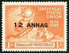 Somaliland Protectorate (British Somaliland) 1949 Scott 115 on red orange UPU Issue King George, Stamp Collecting, Postage Stamps, British, Somali, African, Vanuatu, Bern, Commonwealth