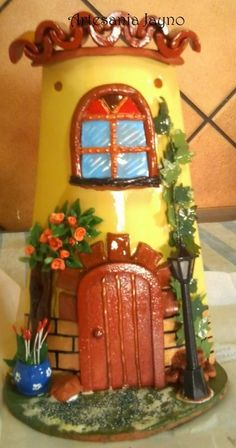 TEJA DECORADA Paper Mache Crafts, Clay Pot Crafts, Polymer Clay Projects, Polymer Clay Art, Wood Crafts, Fun Crafts, Hobbies And Crafts, Arts And Crafts, Clay Fairy House