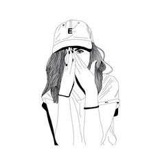 Girl Draw We Heart It ❤ liked on Polyvore featuring fillers, drawings, doodles, sketches, outlines, scribble, saying, quotes, phrase and magazine