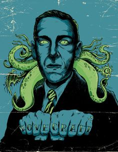 Ever heard of cthulu? Lovecraft was basically Stephen King before Stephen King was even born. Learn more about the master of horror with this bio-doc Hp Lovecraft, Lovecraft Cthulhu, Cthulhu Art, La Sombra Sobre Innsmouth, Illustrations, Illustration Art, Horror Tale, Horror Fiction, Horror Movies