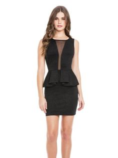 Embossed with a modern paisley pattern and finished with sexy mesh insets and a trend-focused peplum, this dress is nighttime perfection. Polish  ...