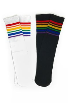 Rainbow Stripe Knee High Socks - Sparkle in Pink Rainbow Socks, Rainbow Outfit, Rainbow Clothes, Cute Pants Outfits, Kids Outfits, Lgbt, Pride Merch, Striped Knee High Socks, Funky Socks