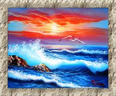 Original Oil Painting on Stretched Canvas Frame. Handmade Seascape Ocean - Theramaikos Greece Oil Painting On Canvas, Oil Paintings, Canvas Frame, Greece, Waves, Ocean, Stretched Canvas, The Originals, Artist
