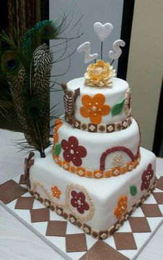 Traditional African wedding cake, made by Colleen de Wet. 3 Tier Cake, Tiered Cakes, African Wedding Cakes, African Cake, Traditional Cakes, Weddings, Party, Desserts, Dress