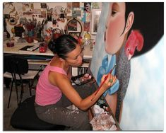 Poh Ling Yeow, a Malaysian-born Australian artist, actress and runner-up in MasterChef Australia. Masterchef Australia, Artist Workspace, Street Mural, Make Pictures, Woman Drawing, Australian Artists, Mural Art, Make Art, Art Studios