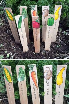 Hand Painted Garden Signs, Plant Markers, Handmade Garden Markers, Plant Labels, Vegetable Signs, Gift for Gardener, Father's Day Gift #vegetablegardening