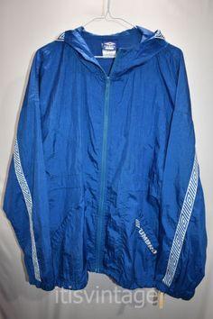 12e21267f4c6 Vintage Umbro Full Zip Hooded Nylon Lightweight Windbreaker Track Jacket  Large L