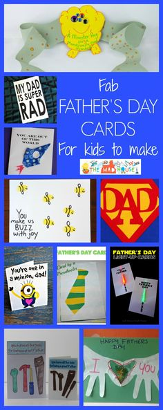 Fab fathers day cards for kids to make. A super selection of kid made father's day cards including free printables and cards for toddlers, preschoolers, tweens and teens.  Make your father's Day with any of these cards.