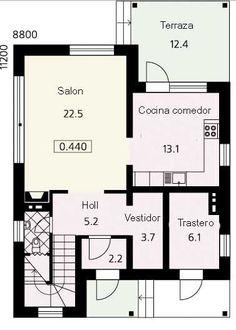 Plano de casa de dos pisos con medidas en metros