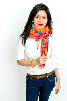 Naina's scarf style is colorful and classically chic!