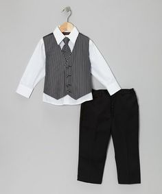 Take a look at this Black & White Bold Stripe Vest Set - Infant, Toddler & Boys by American Exchange on #zulily today!