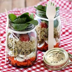 Layered salad in a jar. Find this and other wonderfully yummy salad recipes from food artisans around the world at our website, Yum Goggle.