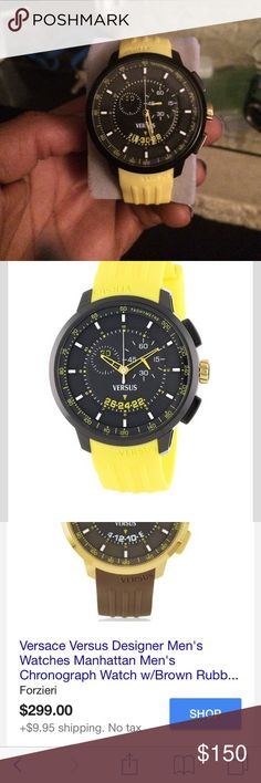 Authentic Versace watch Manhattan Men's Chronograph Watch w/Yellow Rubber Strap by Versus Versace is a sporty yet elegant timepiece. Featuring adjustable PV band with buckle, Black tone metal 42mm round case, tachymeter on inner bezel, sunray dial, chronograph with subdial and date calendar, mineral crystal analogue display, black face with gold-tone stick and numeral indices, two hands and logo with Chrono Quartz Big Date movement. Water to 5 ATM. Versace Accessories Watches