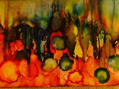 Alcohol ink paint on yupo falling apples