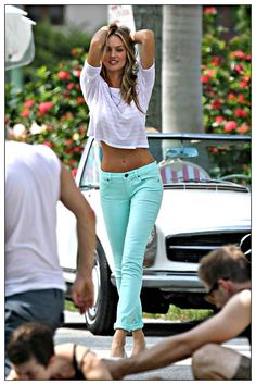 Candice Swanepoel wearing Victoria's Secret Pastel Skinny denim