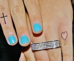 cute tattooos <3 the blue nails
