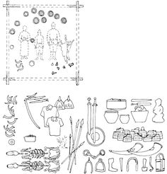 The noble family in a rectangular wooden frame. Below - funerary objects, including two horses and their trappings, helmets, swords, shields, armor, spurs, stirrups, tips, knives, sickles, buckets, pots, keys and locks, drinking horns, humanoid figures, sacrificial animals, etc. etc.