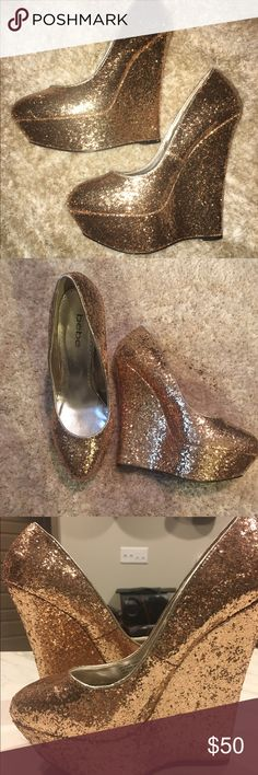bebe Sparkly Glitter Wedges The most eye catching wedges to stop anyone in their tracks! bebe Shoes Wedges