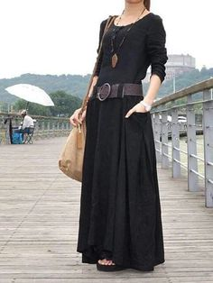 Black linen dress full length maxi dress big sweep plus size dress long sleeves with two pockets Simple Dresses, Casual Dresses, Short Dresses, Dress Long, Awesome Dresses, Long Sleeve Maxi, Maxi Dress With Sleeves, Mode Outfits, Fashion Outfits