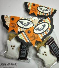 Stamp With Sandy: Halloween S'mores for The Paper Players - fun 3D candy holder