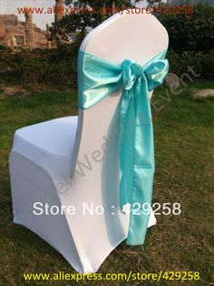 Russian Free Shipping 100pcs Tiffany Blue Satin Sash Chair Sashes Chair Bow Knot
