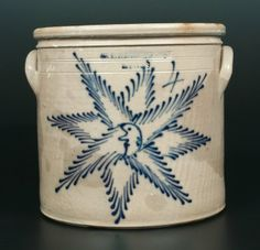 """Sold $4,500 Extremely Rare Four-Gallon Stoneware Crock with Cobalt Cresent Moon Face Decoration, Stamped """"T. HARRINGTON / LYONS,"""" New York State origin,..."""