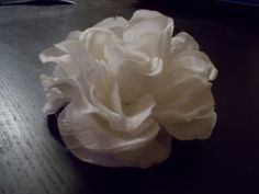 This Large White Flower Hair Barrette is Hand Sewn and Handmade with love. It is One Of A Kind. I can make a million more white fabric hair