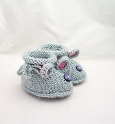 Handknitted Cute Baby Booties Grey Booties Mouse by evefashion, £6.50