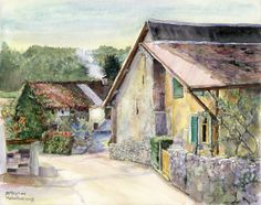 Old farmhouse in the Swiss village of Saint-Triphon, watercolor painting art from Switzerland