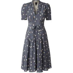 Orla Kiely Silk Crepe Dancing Girls Tea Dress (€455) ❤ liked on Polyvore featuring dresses, orla kiely, pebble, short sleeve dress, fit and flare dress, tea party dresses y mixed print dress