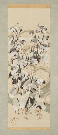 Detail 1: One of the Seven Lucky Gods Jurojin, deer, and cranes, Edo period (1615 –1868), c. 1844–1858, by Suzuki Kiitsu (1796–1858). Japan. One of a set of three hanging scrolls; ink and colors on silk. Courtesy of the Larry Ellison Collection, EX 2013.2.033.3.