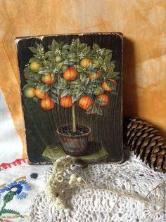 Картины цветов ручной работы. Ярмарка Мастеров - ручная работа. Купить Панно. Мандариновое дерево. Handmade. Декупаж, подарок мужчине
