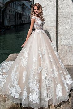 Junoesque Tulle Jewel Neckline See Through Bodice Ball Gown Wedding Dress With Beaded Lace Appliques