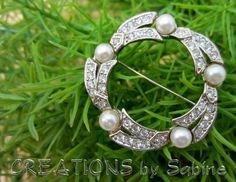 Rhinestone Pearl Wreath Brooch Vintage / Silver Metal Round / Traditional Mid Century / Fancy Elegant Classy Dressy / FREE SHIPPING  / by CREATIONSbySabine