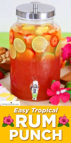 Tropical rum punch is a delicious summer cocktail recipe for a luau party or to sip by the pool! A mix of juice and coconut rum for a pretty layered drink. You'll feel like you're at the beach! food and cocktails Tropical Rum Punch Party Drinks Alcohol, Alcohol Drink Recipes, Liquor Drinks, Alcoholic Drinks Rum, Malibu Rum Drinks, Beach Party Drinks, Mixed Drink Recipes, Mixed Drinks Alcohol, Alcholic Drinks