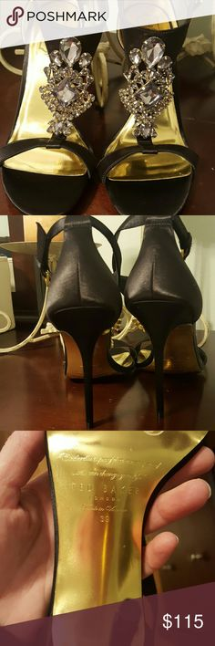 """Tad Baker London Crystal T -Strap  Gorgeous heels worn once  4"""" heel. 100mm pitch. Adjustable ankle strap with buckle closure. Lightly padded footbed. Leather upper and lining/synthetic sole Ted Baker London Shoes Heels"""
