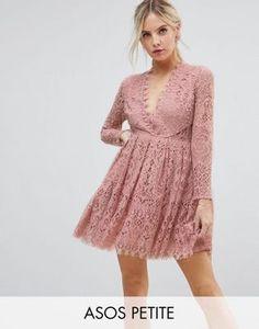 ASOS PETITE Long Sleeve Lace Mini Prom Dress