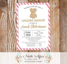 Pink and Gold Glitter Modern Lingerie Shower invitation with diagonal stripes