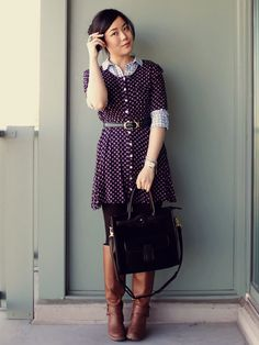 Love the dress over shirt look & the pattern mixing!
