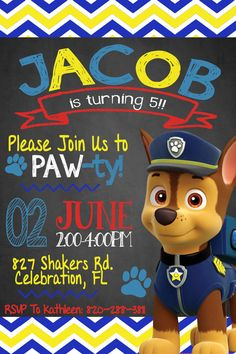 Paw Patrol Invitation Chase Invitation Paw Patrol by OmbreDesigns