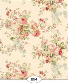 "Dollhouse Wallpaper  "" Rose Floral """